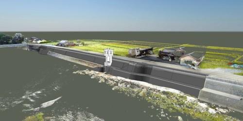 農地の用水路を山国川に排水する樋門のCIMモデル