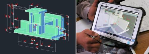 複雑な形状の樋門の躯体も3Dのパースで表現するとわかりやすい(左)。NavisworksのCIMモデルは軽いので、現場用タブレットパソコンに入れて、出来形管理などに使っている(右)
