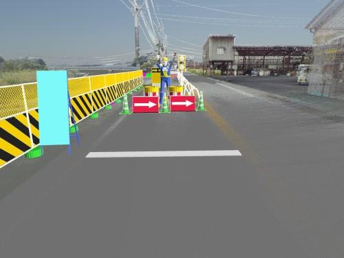樋門周辺の交通規制の計画図。点群データ上に案内標識やカラーコーンなどを配置した。周辺の建物なども写っているので初めての人にもわかりやすい