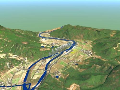 InfraWorksで作成した山国川周辺のCIMモデル全景