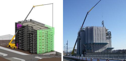 BIMで作成したマンション足場の解体計画。クレーンと足場の干渉部分(ピンク)を取り外すことで、建物背面の足場(グリーン)を吊り上げることができる(左画像)。実際の現場での作業も計画通り行えた(右写真)