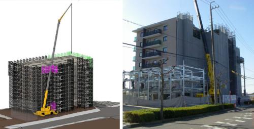 Revitによる作業シミュレーション。クレーンと干渉する部分の足場(ピンク)をあらかじめ撤去しておくことで、建物裏側の足場材(グリーン)も吊り上げて撤去することができた(左資料)。実際の現場でも足場を一部、撤去することで予定通りの作業が行えた(右写真)