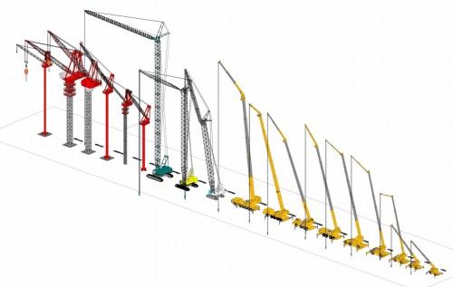 定格荷重の計算機能などが付いたクレーンのファミリ