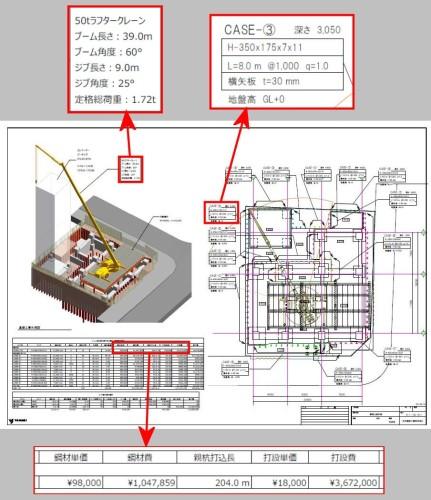 Revitによって作成した山留め図。ファミリの属性情報や定格荷重の計算機能からのデータを図面上に自動表示するほか、工事費の概算も自動計算する
