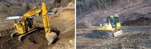 群馬県内にある八ッ場ダムの工事現場。南雲建設のICT建機が活躍している