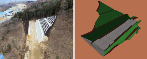 完成した道路の法面工事現場(左)とICT施工に使った3Dモデル(右)