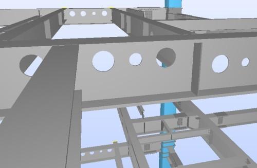 東急建設はRevitなどのツールで作成したBIMモデルの情報を活用、配管などが鉄骨部材を貫通する「スリーブ」の位置チェックや協力会社における工場加工を自動化した