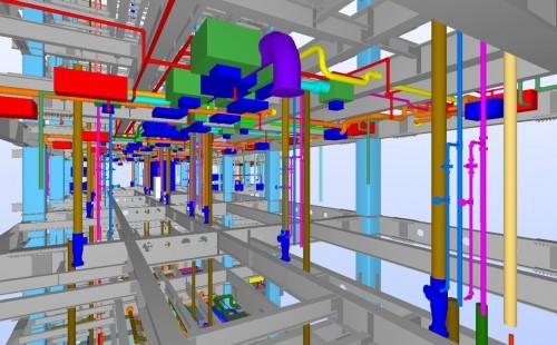 構造と設備のBIMモデル