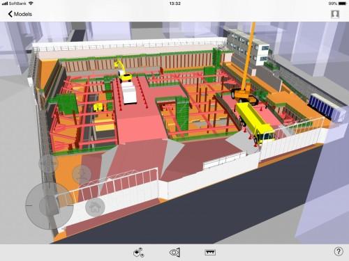 次のステップの現場を表示した例。クレーンなどの重機や構台の位置、資材搬入の動線などが予測できるので安全管理にも役立つ