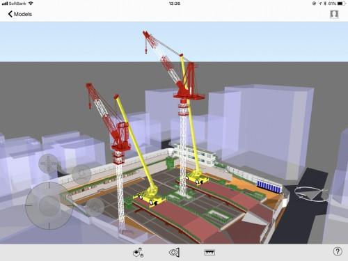 タワークレーンや移動式クレーンを使った作業イメージ。高さ方向の位置関係もよくわかる