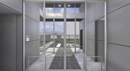 BIMモデルをもとに作成した物流倉庫エントランス部のVRコンテンツ。素材選びや仕上げの確認に対する効果が高いBIM活用例の1つだ