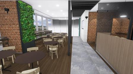 休憩室のBIMモデルから作成したVRコンテンツも、施主とのデザイン確認に役立った