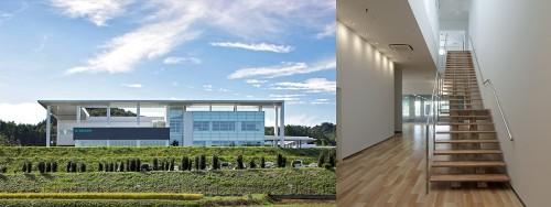 ビー・ブラウンエースクラップ栃木工場の完成予想CG(上段)と完成写真(下段)はそっくり。施主からもイメージ通りの建物ができたと喜ばれた