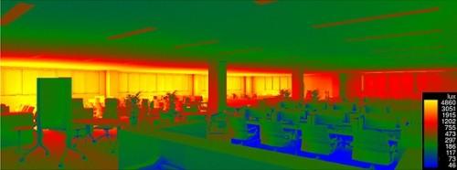 上の執務室における照度分布を日射解析により求めた例。見た目だけでなく、エンジニアリング的な数値も求めて検討を行っている