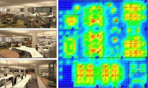 照明解析により、間接照明の明るさ感をシミュレーションした例