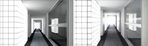 ガラスブロックのCGによる照明検討(左)と竣工写真(右)