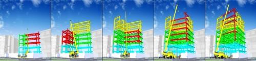 BIMによる施工シミュレーションの例。資材置き場やクレーンの位置、鉄骨の建て方などのステップをアニメーション化し、情報共有を図った