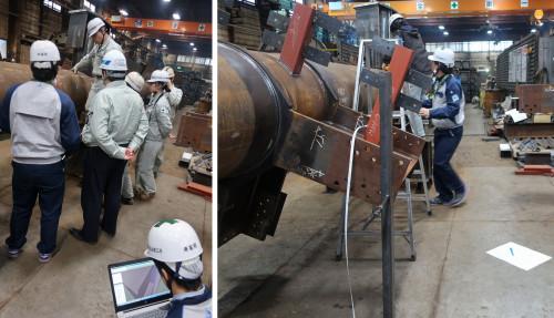 ノート型ワークステーションでBIMモデル上の寸法を測定し(左)、でき上がった鉄骨部材を実測する(右)