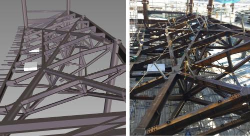 仕口や部材が複雑に交錯する立体トラスのBIMモデル(左)と工事所で組み立てられた部材(右)