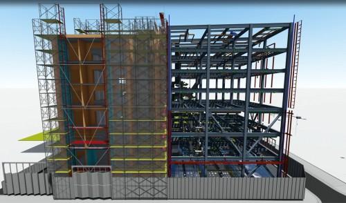 Navisworksで構造、設備などを重ね合わせを行い、Lumionに読み込んだ広島支店社屋の施工BIMモデル。図面に代わり、BIMモデルによって合意形成を図った