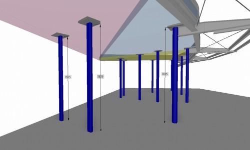 船の帆のような曲面状のスラブを分割し、鉄骨柱との納まりを検討した施工BIMモデル