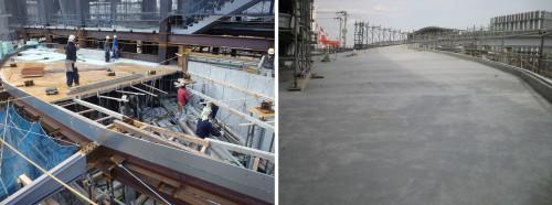 工事所での鉄骨や型枠の組み立て作業(左)。コンクリート打設で設計イメージ通りの曲面を表現したひさし(右)