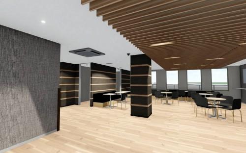 ある大学の寮のラウンジ内装をBIMでシミュレーションし、モノ決めに使った例。この建物では木目調をベースに天井材や床材、壁材などに統一感を持たせた