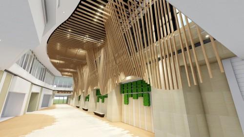 ある商業施設の内装モックアップ。木目調部材を並べて曲面を現した場合の見え方がよくわかる