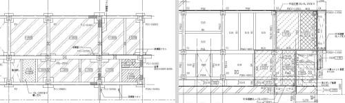 2Dの基礎伏図(左)と土間伏図(右)で表した浴室付近の基礎躯体。地中梁の段差やふかしが複雑なため、わかりにくい