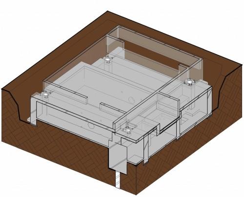 BIMモデルで表した浴室周辺の基礎躯体。構造や段差などが一目でわかる