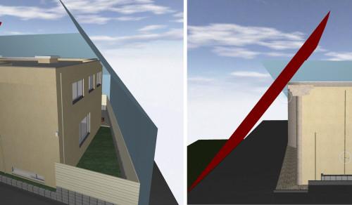 斜線制限で最も厳しくなる部分も、3D画面で見ると直感的に把握できる