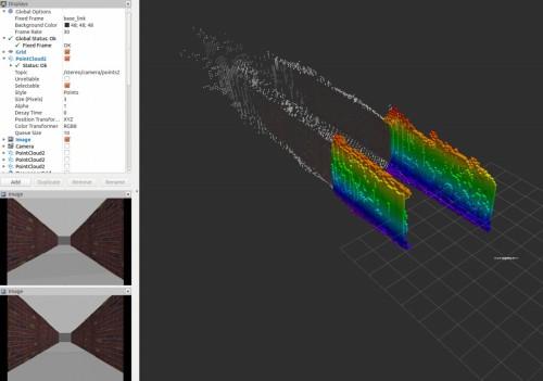 水路壁の3Dモデルをリアルタイムに作成する様子。左下の画像はステレオカメラの映像。シミュレーターによる動作確認の様子
