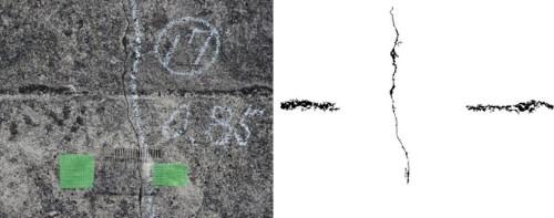 ドローンが撮影した壁面の写真(左)と、AIによって検出したひび割れ部分(右)
