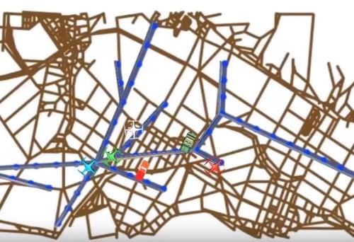 タスクプラナーでドローンと車両の経路を計画したイメージ
