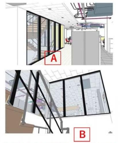2階と3階をつなぐ内部階段は、ガラス越しの見え方をBIMモデルで確認した