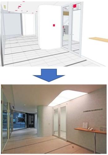 BIMによるデジタルモックアップ(上)と完成した建物の写真(下)。設計時のイメージ通りに仕上がった