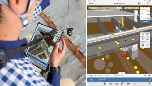 タブレットとプリズムバーを持って墨出し作業を行う施工管理技術者(左)。手元のタブレット端末にはBIMモデルや墨出しポイント、そしてプリズムバーの現在位置がリアルタイムに表示されるのでわかりやすい(右)