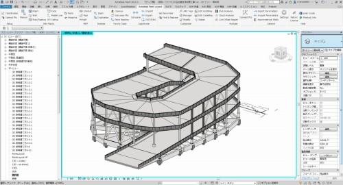 傾斜路を収容するランプ棟のBIMモデル