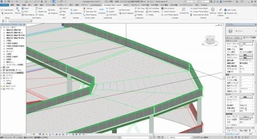 Point Layoutでの墨出し作業に使われたRevitのBIMモデル。墨出しポイントが細かく設けられている