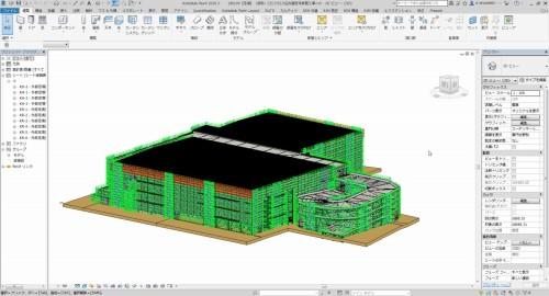 ランプ棟の足場計画に使用したBIMモデル