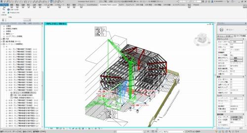 BIMモデルによるランプ棟の建方計画