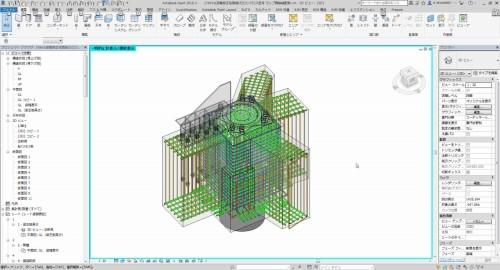 BIMモデルによるランプ棟の配筋計画