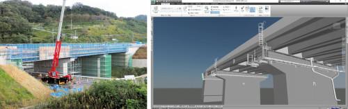 島根県出雲市内で建設が進む湖陵多伎PC上部工事の現場(左)と施工管理に使われたCIMモデル(右)