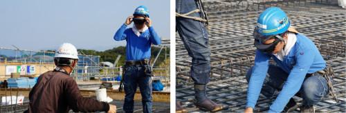 ARデバイス「HoloLens」を身に付けた職人(左)。現場ではメジャーテープなどを使わず、配筋のCIMモデルに合わせて鉄筋を配置していくだけだ(右)