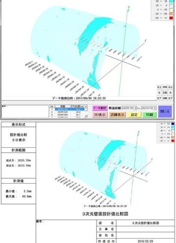 切羽周辺の点群データを設計断面と比較した画面(上)と印刷物(下)の例。設計値からの余掘り量がヒートマップによって色分け表示され、断面不足はひと目でわかる