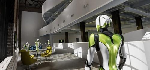 世界初のフォトリアルなVRコラボレーションデザインプラットフォーム「NVIDIA HOLODECK」によるBIMモデルのデザインレビュー風景