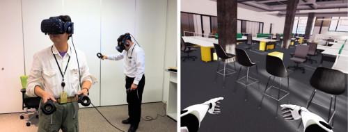 VRゴーグルを身に着けた施主や設計者(左)は、BIMモデルの中に入って、実物大の風景(右)を見回しているような感覚でデザインをレビューできる