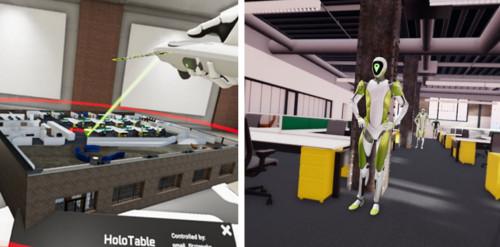 建物内のある場所を仮想のビームで指示する(左)と、そこに瞬時に移動したり、全員で集合したりすることもできる(右)