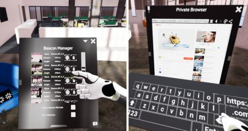VR空間に表示された仮想のコントロールパネルやツールメニュー(左)を操作することで、マウスやキーボードに代わり、様々な操作が行える。プライベートブラウザー(右)を表示させれば、インターネット検索で調べ物をすることも可能だ