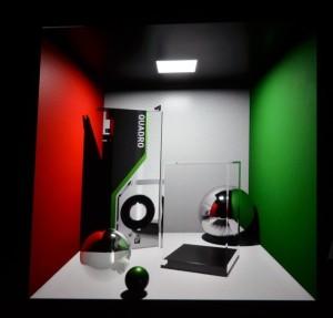 近似したライティングとくっきりした影。反射や屈折の効果が正確に反映されていない